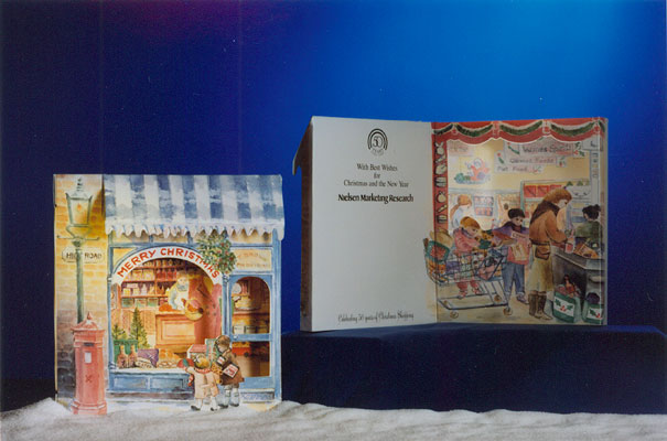 Pop-up, illustrated, Christmas greeting card for Market Research company (50 years of shopping)