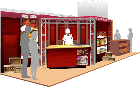 Perspective visual of exhibition stand (branding removed)