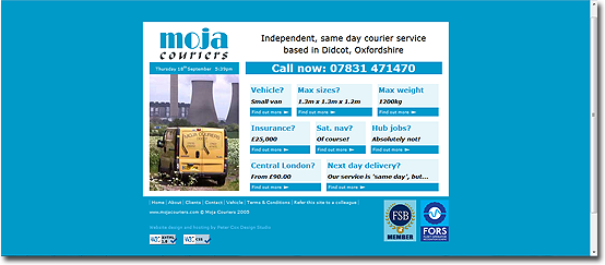 Moja Couriers' homepage